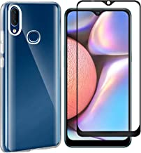 MYLBOO Compatible with for Samsung Galaxy A10S Case Galaxy A10S Screen Protector,2 in 1 Transparent Soft TPU Phone Case + 9H Tempered Glass Full Screen Protector for Galaxy A10S