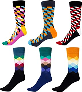6 pares Calcetines de Algodón Hombre y Mujer Calcetines Estampados Casuales Divertidos Calcetines altos de Colores