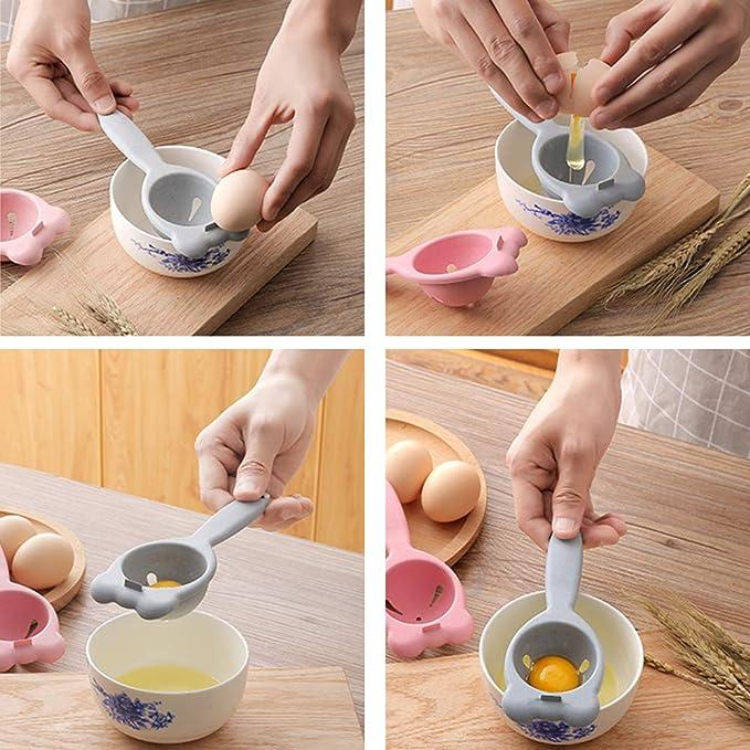 Separador de huevo Filtro de yema de trigo Tallos de cocina Herramienta Gadget Herramienta de hornear Accesorios de cocina (rosa)