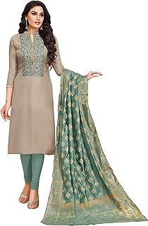 Rajnandini Women's Grey Upada Silk Embroidered Semi-Stitched Churidar Salwar Suit Material (Free Size)