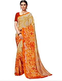 Vaamsi Women'sPoly CrepePrinted Saree(VSAR1048_One Size_Beige)