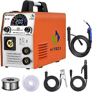 HITBOX MIG Welder 185A 110V/220V Dual Voltage Color Smart LCD Display IGBT Inverter Multifunction MIG MMA Lift TIG Stick G...