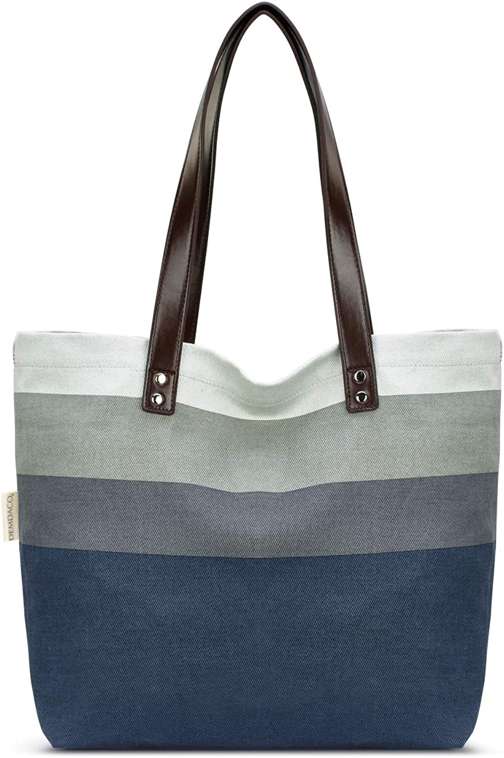 DEMDACO 16 x 12.5 Inch Canvas & Leatherette Shoulder Tote Bag