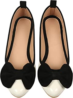 Planet Wear Comfortable and Stylish Women Ballerina White Color with Black Bow Bellies