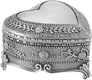 Vintage Antique Silver Chest Box Heart Shape Tin Engraved Jewelry Box Classic Retro Storage Organizer (Heart Silver)
