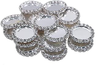 AQUEENLY 20 PCS Rhinestone Bottle Caps, Silver Bottle Caps for DIY Craft Scrapbooks Hair Bows Photo Pendant Jewelry Making, 22 mm