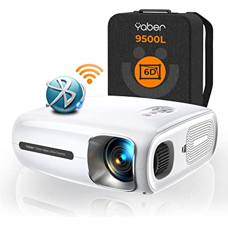 YABER Pro V7 9500L 5G WiFi Bluetooth Projector, Auto 6D Keystone Correction &4P/4D, Infinity Zoom, HD Portable Movie Projectors Home&Outdoor Video 4k Projector for iOS/Android etc. [Extra Bag Include]