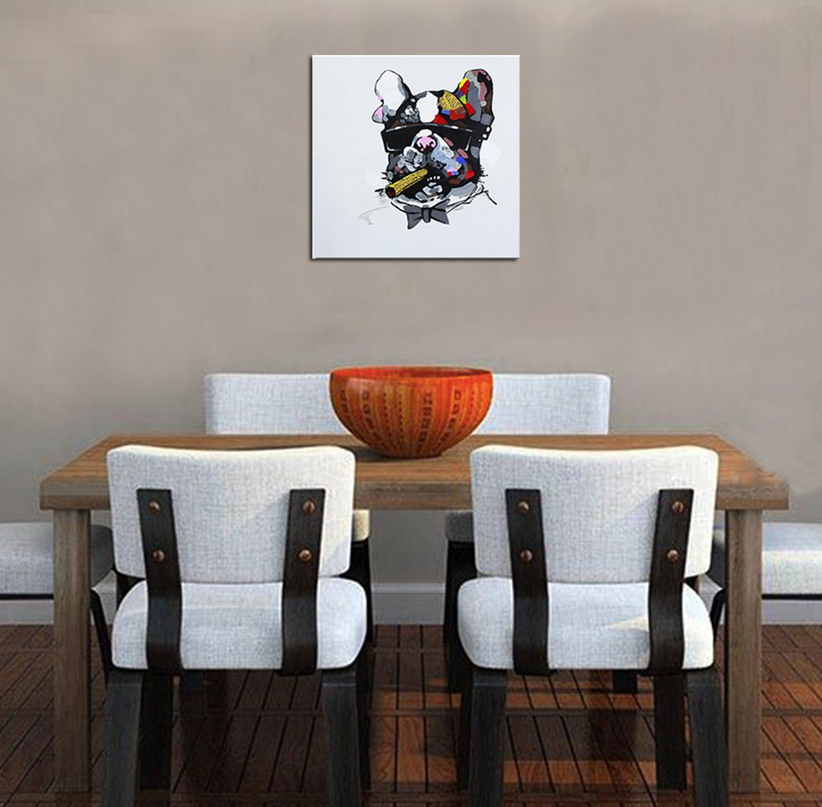 Fokenzary Hand Painted Painting Bulldog Wearing Sunglasses on Canvas Pop Wall Art Decor Framed Ready to Hang for Living Room Bedroom