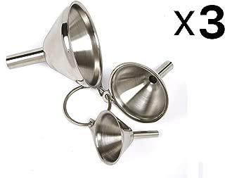 3 x Norpro 3-Piece Stainless Steel Funnel Set