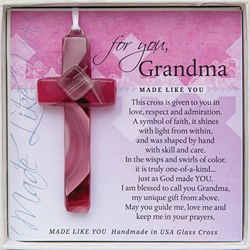 Gift For Grandma Handmade Glass Cross And Poem