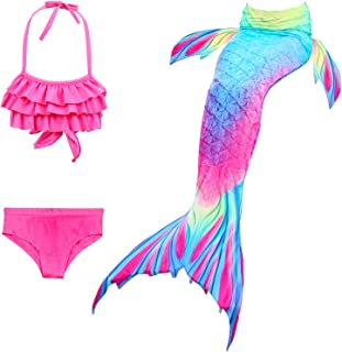 Girl Swimsuit Set 3Pcs Mermaid Tail for Girls Swimming Swimsuits Princess Bikini Set for Toddler Big Girls Birthday Gift