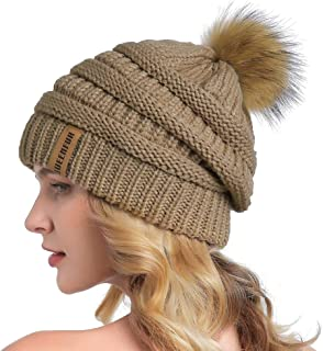 QUEENFUR Women Winter Slouchy Beanie Thick Baggy Knit Hat Chunky Warm Snow Cap with Real Raccoon Fur Pompom