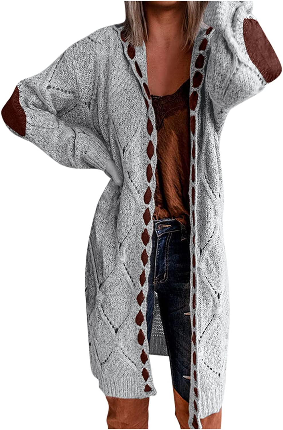 Xinantime Women's Knitted Cardigan Mid-Length Pocket Open Front Sweaters Ladies Casual Patchwork Cable Knit Coat