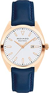 Movado Women's Heritage Rose Gold Watch with a Printed Index Dial, Blue/Silver/Gold (Model 3650037)