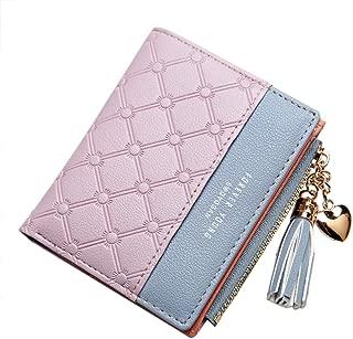 Belsmi Women's Small Compact Slim Leather Wallet Lady Purse Zipper Pocket Card Organizer Bifold Wallets