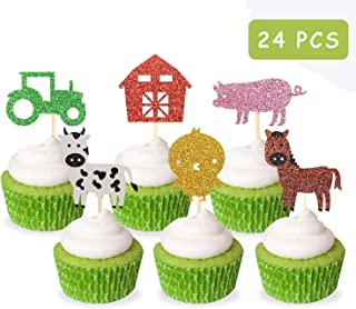 Farm Zoo Animal Cupcake Toppers Picks, 24Pcs Glitter Appetizer Dessert Muffin Cake Cupcake Decoration, Kids Animal Themed Party Baby Shower Birthday Party Supplies