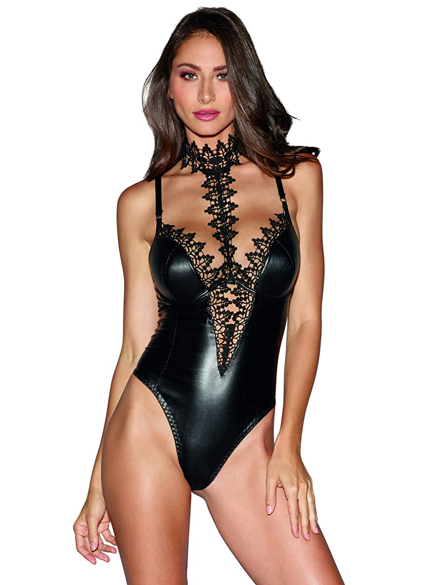 Dreamgirl Women's Faux-Leather Teddy Bodysuit with Ornate Lace Choker