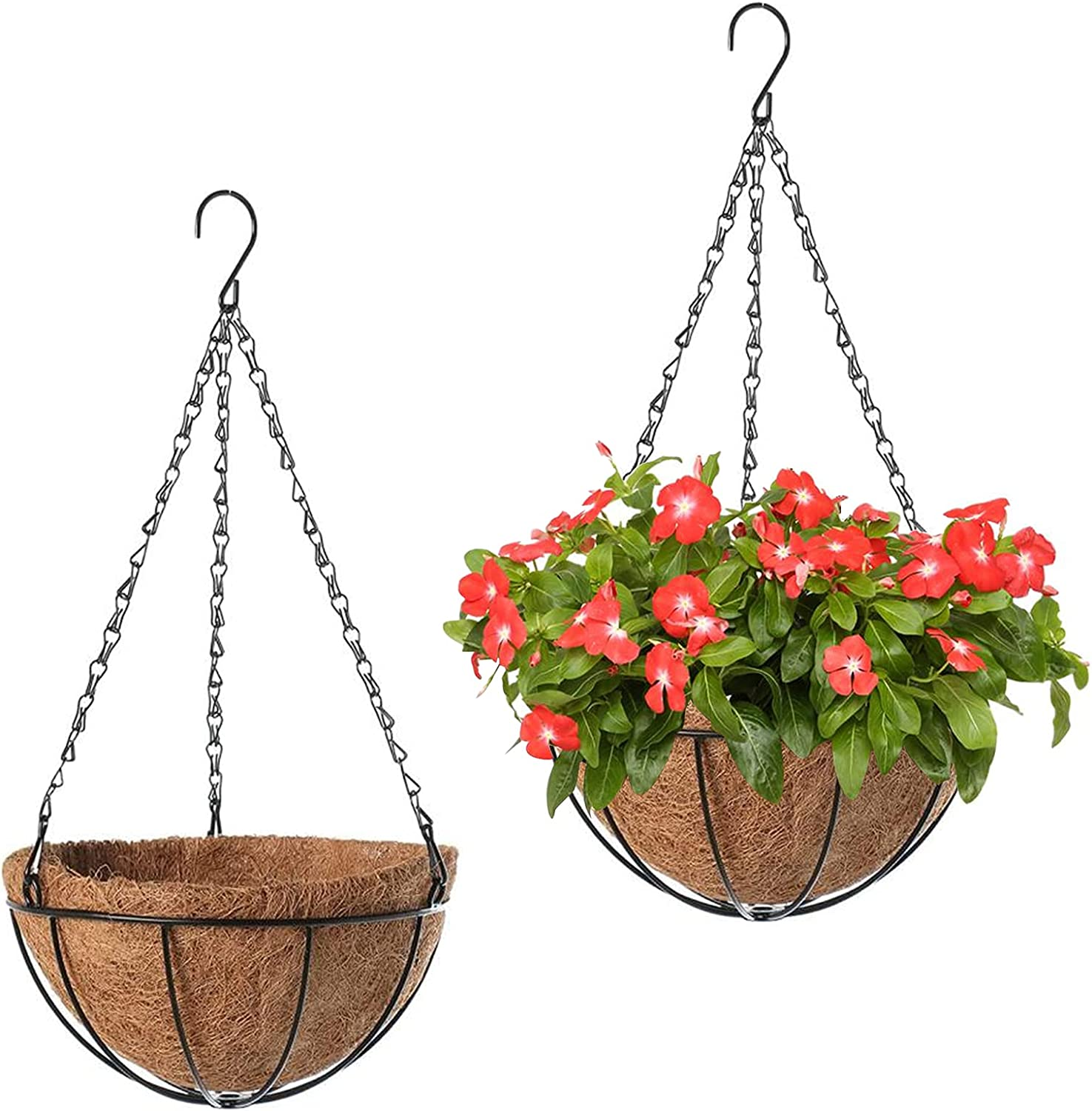 2 Pack Metal Hanging Planter Basket Coir Coco with Popularity Atlanta Mall Rou Liner 10