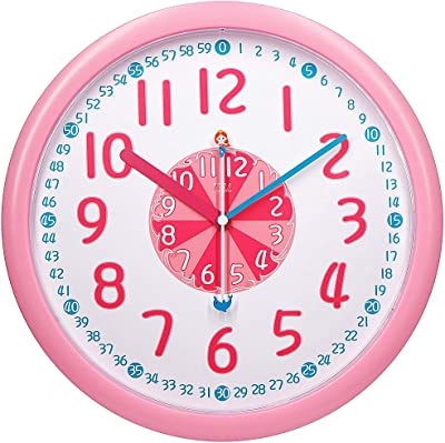 """TXL Kids Teaching Wall Clock Silent 12"""" Large Educational Wall Clocks Learning Time Faster and Fun for Toddler/Preschooler/Bedroom/Classroom/School, Perfect for Parents/Teachers to Teach-Pink"""