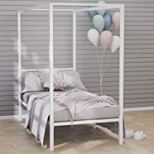 Zinus Patricia Single Bed Frame - White Canopy Four Poster Bed