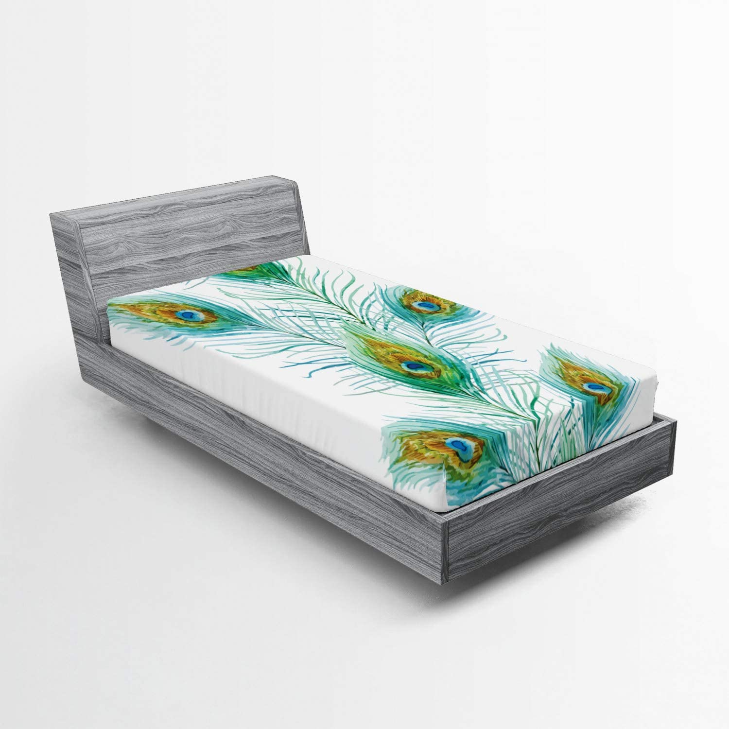 Lunarable Peacock Fitted Sheet Ta Offspring Spotted Luxury goods New products world's highest quality popular Eye
