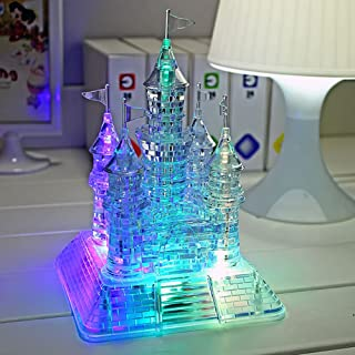 3D Music Castle Puzzle 105 PCS Crystal Jigsaw Puzzles ED Light Up Creative Gift for Kids Adults DIY Intelligent Puzzles Educational Building Toys (Clear)
