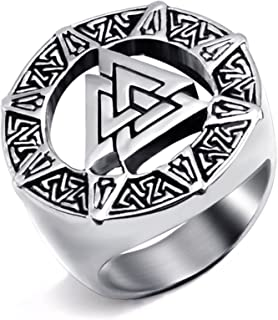 Elfasio Men Stainless Steel Rings Viking Valknut Scandinavn Odin Symbol Norse Ring Jewelry Size 7-15