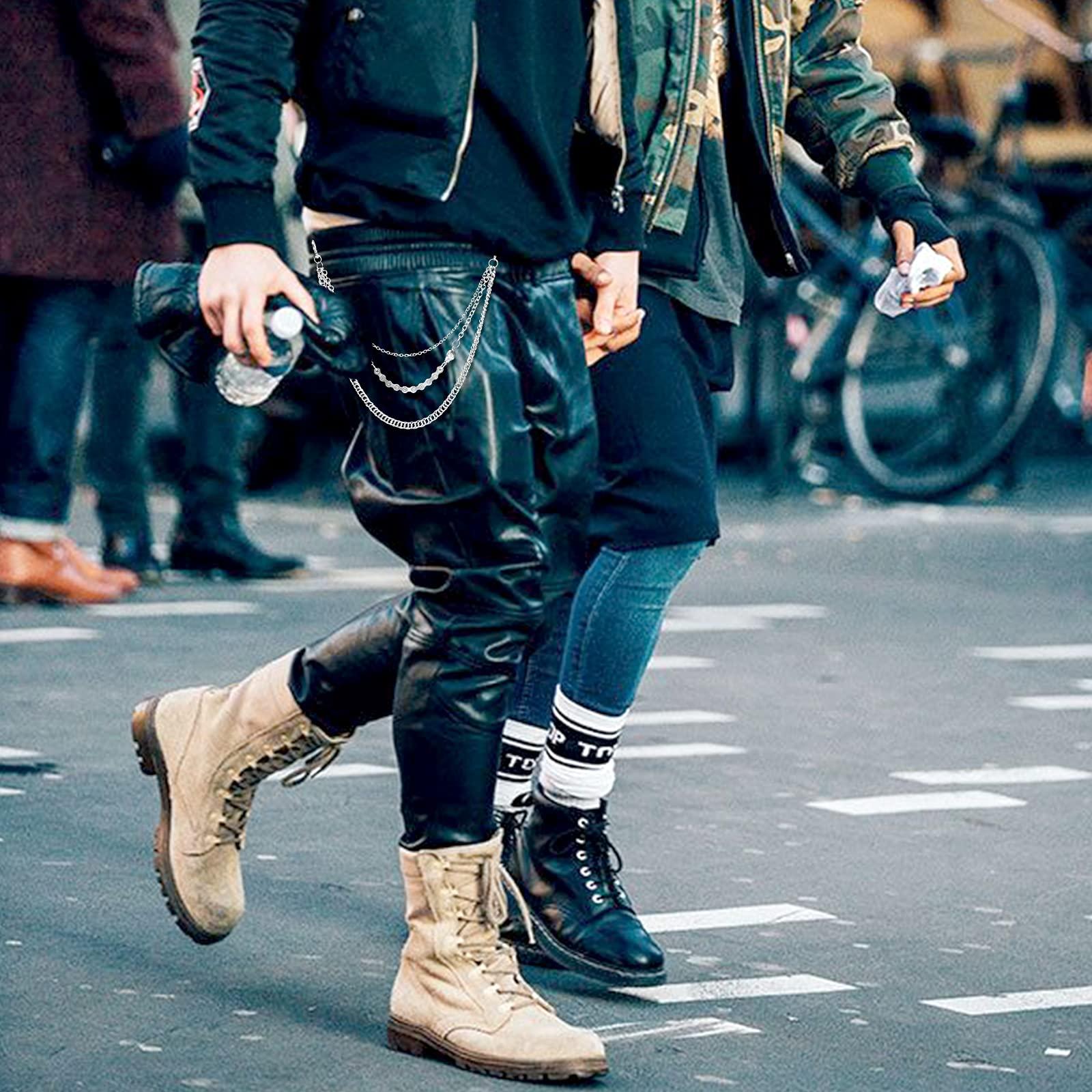 Pants Chain for Men Women,Biker Skull Chain Wallet,Long Cool EMO Punk Trousers Pocket Belt Key Chains for Hip Hop Rock Jean Gothic