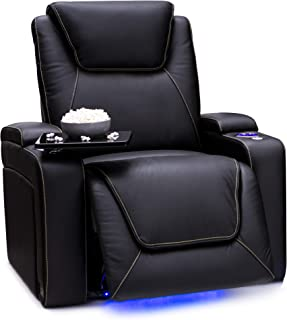 Seatcraft Pantheon Big & Tall 400 lbs Capacity Home Theater Seating Leather Power Recline with Adjustable Powered Headrest and Lumbar Support, SoundShaker, and Lighted Cup Holders (Black)