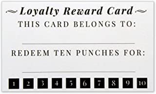 Customer Loyalty Punch Card - Business Card Size 3.5 x 2 Inches Incentive Cards - Pack of 50