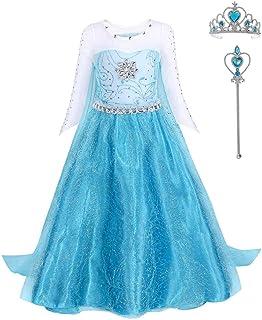 FONLAM Disfraz de Princesa Vestido Largo Fiesta Niña