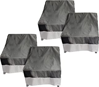 Reusable Revolution 4 Pack Deep Chair Patio Cover - Outdoor Furniture Set Cover (Dark Grey w/Grey Trim)