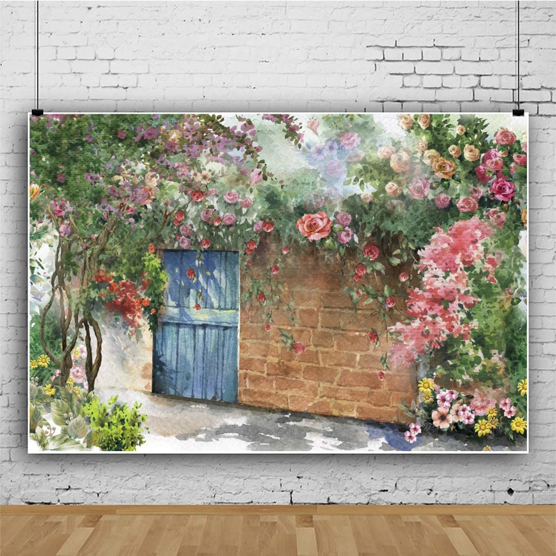 Leowefowa Fantasy Small Yard Brick Wall Blooming Flowers Watercolor Painting Backdrop for Photography 12x10ft Chic Courtyard Blue Door Vinyl Background Child Adult Shoot Bridal Party Photo Booth