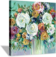 Hardy Gallery Abstract Flower Wall Art Canvas: Blooming Floral Artwork Painting for Living Room