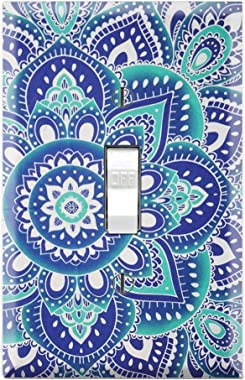 Graphics Wallplates - Blue Ombre Mandala Hippie Bohemian - Single Toggle Wall Plate Cover