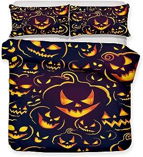 REALIN Fundas Nórdicas Halloween Juego De Ropa De Cama Fantasma Calabaza Bruja Colcha 2/3/4PCS Fundas De Edredón Nórdico/Almohada/Sábanas,para Cama 90/135/150/180 (Cama 80/90(140×210cm)-4PCS,B)