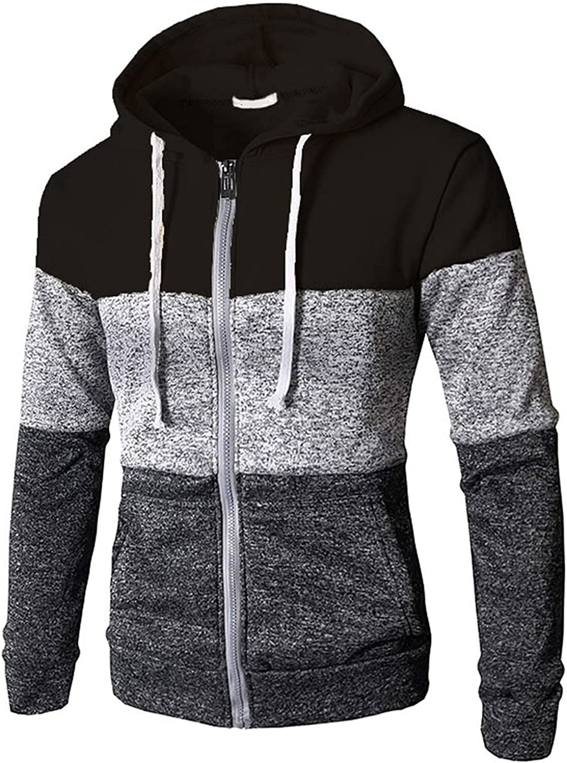 XXBR Stitching Hoodies for Mens, Fall Color Block Patchwork Drawstring Hooded Sweatshirts Casual Pullover with Pocket