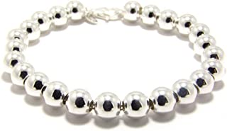 Kyperco 8mm Sterling Silver Bead Ball Handmade Bracelet - Perfect Bridal Wedding Jewellery For Women