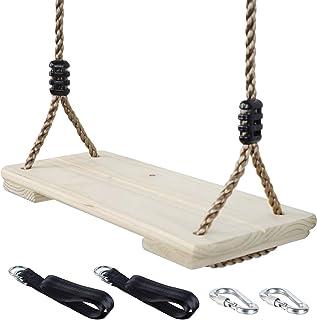 NOSTAFY Pine Wooden Nostalgic Hanging Swing Seat Outdoor Patio & Garden Playground Hammock - Height Adjustable