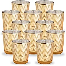 Just Artifacts Glass Votive Candle Holders 2.75H Chevron Gold (Set of 12) - Glass Votive Candle Holders for Weddings and H...