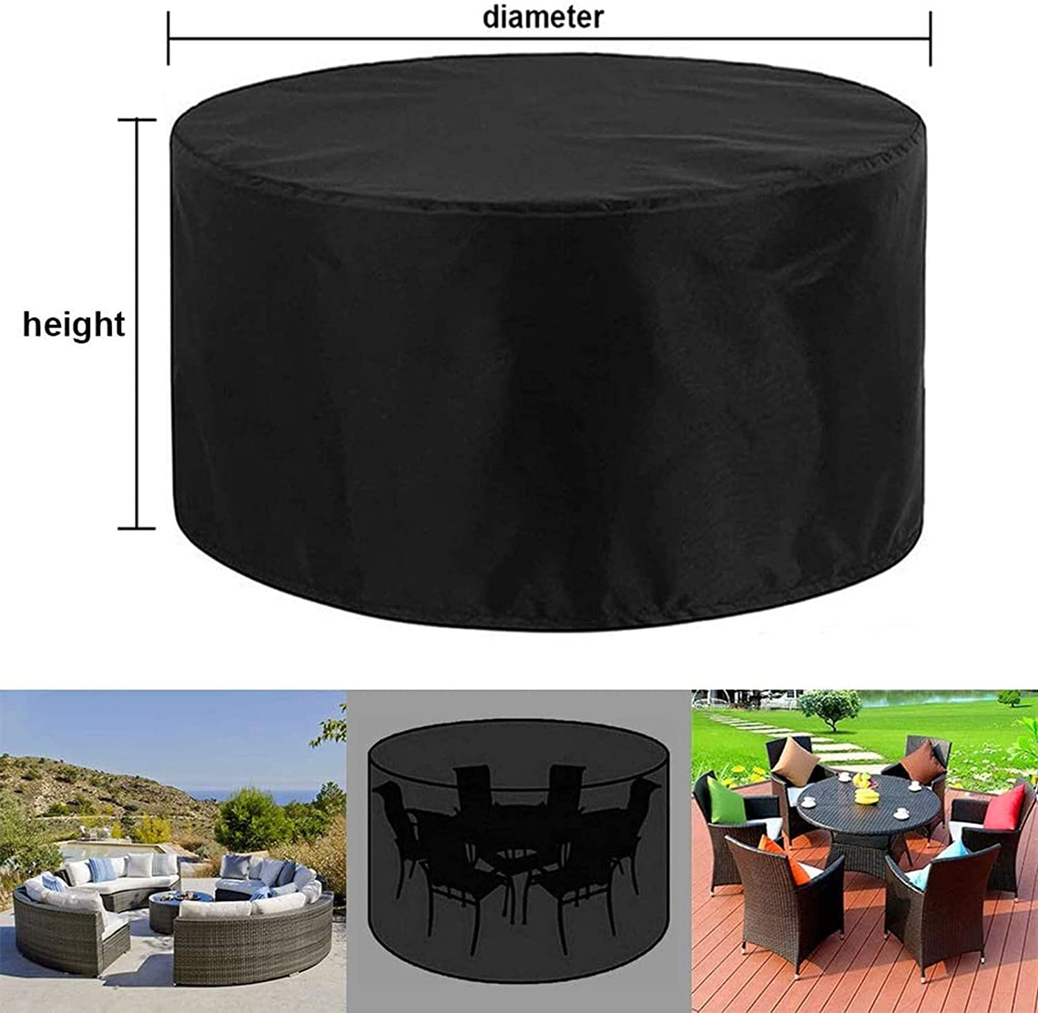 Round Garden Table Cover Heavy Duty Protection Waterproof Windproof Weatherproof/&Anti-UV Outdoor Patio Circular Table Covers QIAOH Garden Furniture Covers 420D 60x42cm
