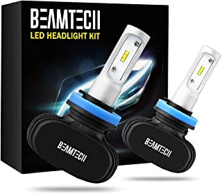 BEAMTECH H11 LED Headlight Bulb, 50W 6500K 8000Lumens Extremely Brigh H8 H9 CSP Chips Conversion Kit