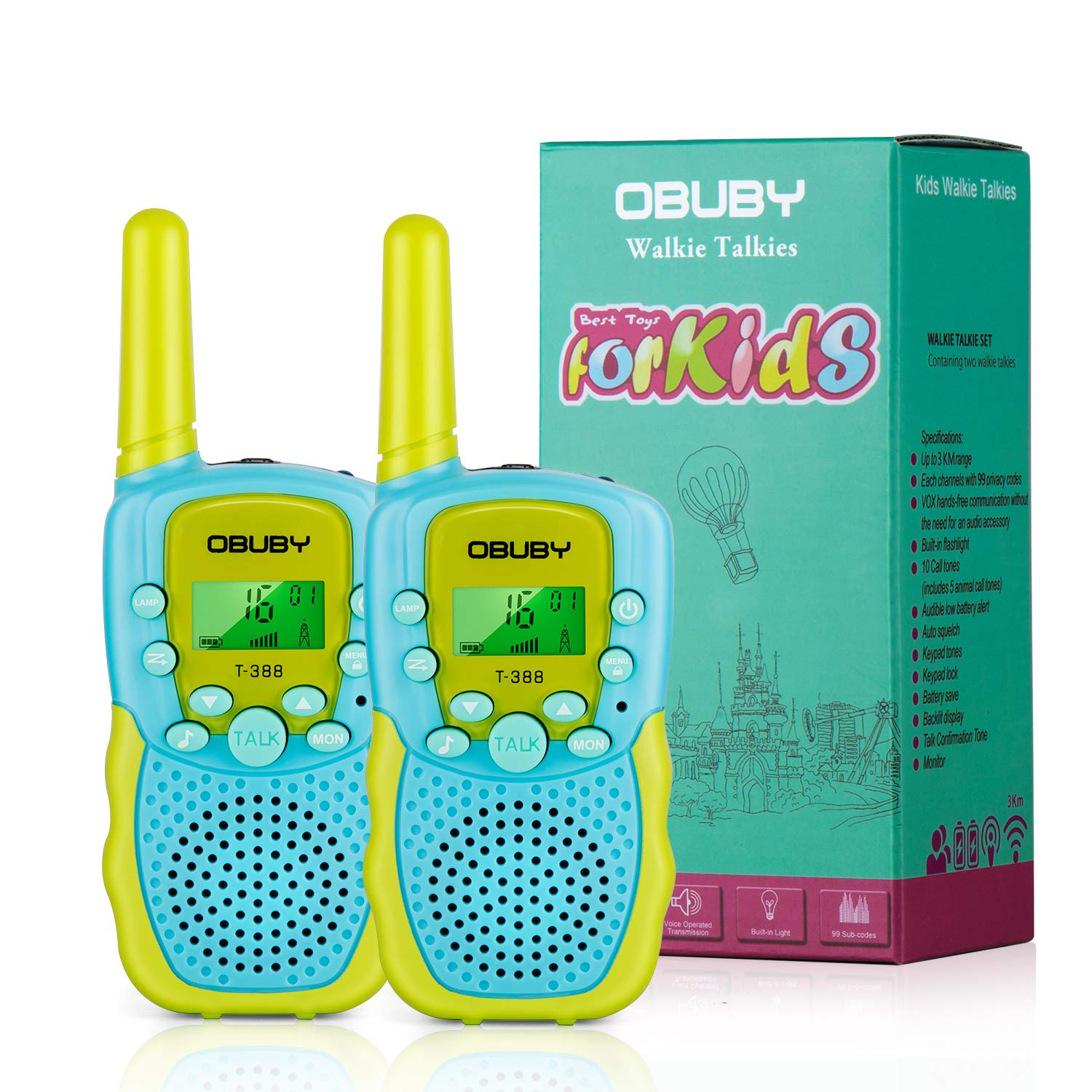 Blue+Green OKPOW Walkie/Talkies/for/Kids,22 Channels VOX Radio Kid Gift Toy 3 Miles Long Range with Flashlight for Boys and Girls Indoor and Outdoor