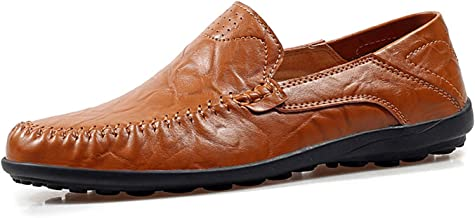 JKPUDUN Men's Casual Handmade Driving Shoes Slip on Mens Loafers Fashion Leather Boat Shoes Moccasins