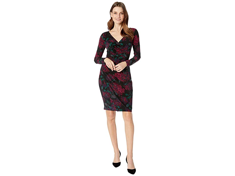 CHAPS Floral Long Sleeve Day Dress (Black/Eggplant/Multi) Women