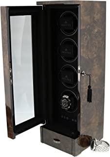 Quad Automatic Watch Winder Dark BURL Wood Finish Tower Series by AEVITAS