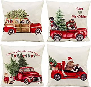 Best vintage red truck with christmas tree pillow Reviews
