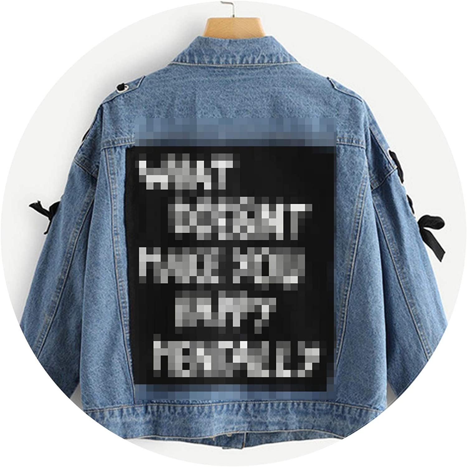 bluee Letter Print Lace Up Denim Jacket Womens Fashion Women Casual Spring Pocket Outerwear