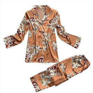 Women Two Piece Fashion Printed Sleepwear Set ❀ Ladies V-neck Long Sleeve T-shirt Blouse Nightwear Tops Casual Pajamas Long Pants