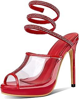 Hoge hak sandalen, vrouw vis mond strass enkelband instapper stiletto dames pomp, hakhoogte 10,5 cm,Red,38